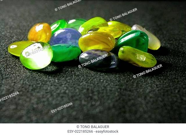 Green and yellow colorful glass stones