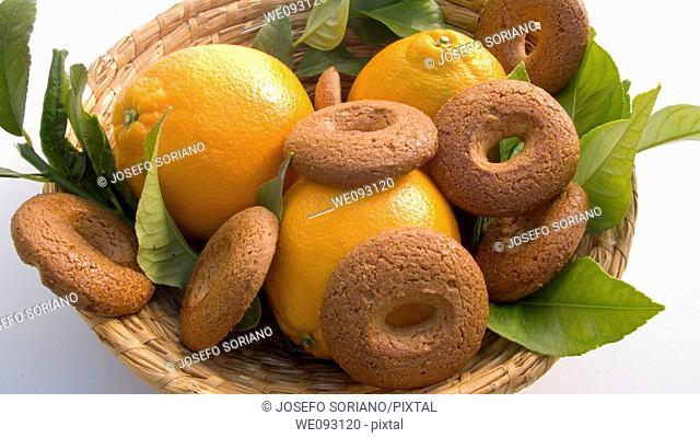 Orange basket with bagels