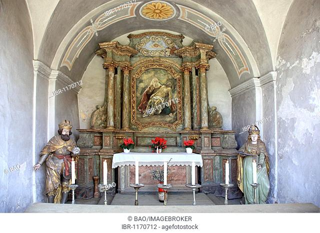 Grotto of the pilgrimage basilica of the Holy Trinity of the Franciscan monastery in Goessweinstein, Forchheim district, Upper Franconia, Bavaria, Germany