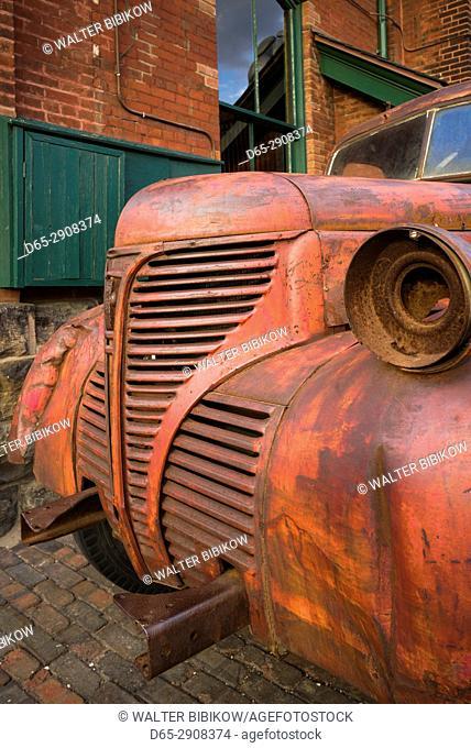 Canada, Ontario, Toronto, Distillery District, old distillery truck