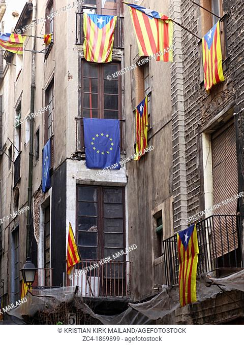 Catalonian waving flags for independence  A region in Europe