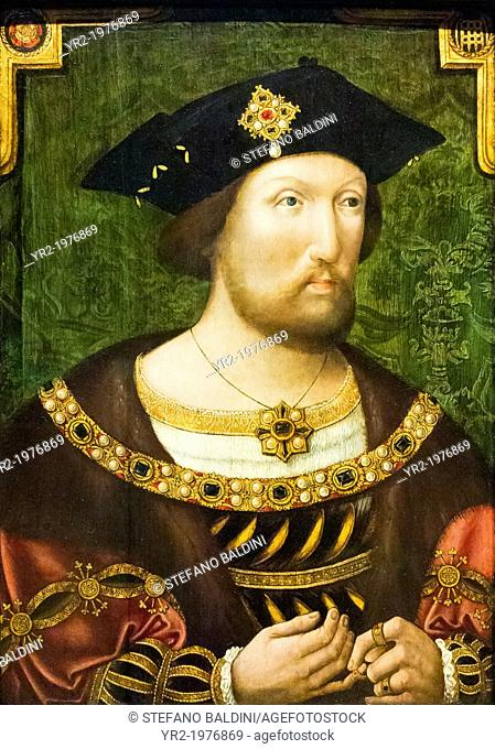 King Henry VIII, 1491-1547, unknown artist, 1520, oil on panel, national portrait gallery, London, England