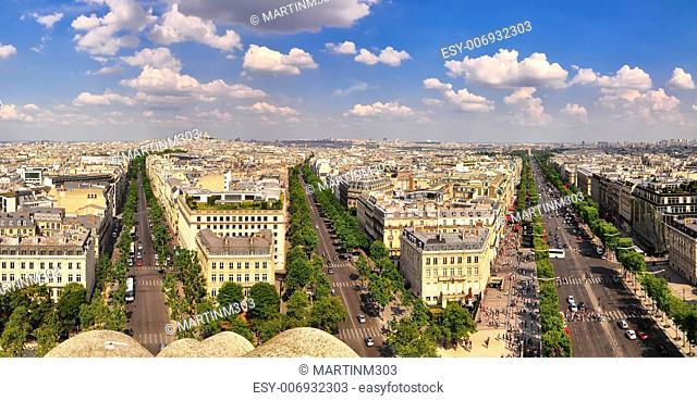 Paris panorama view from Arc de Triomphe, Paris