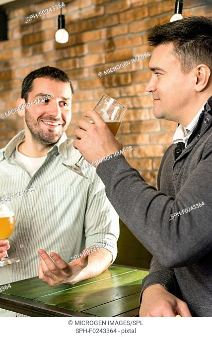 Friends drinking beer in a pub