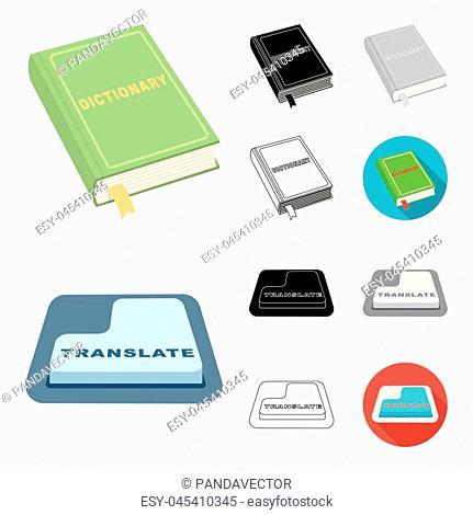 Translator and linguist cartoon,black,flat,monochrome,outline icons in set collection for design. Interpreter vector symbol stock illustration