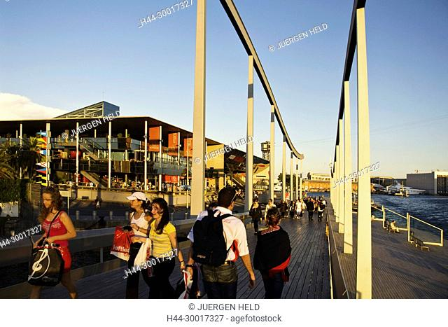 Spain, Barcelona, Catalonia, Rambla de Mar, Footbridge, sunset, Port Vell, Maremagnum