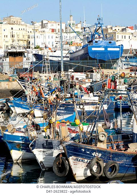 Morocco, Tangier, port fishing boats