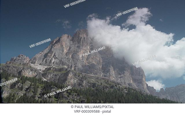 Timelapse of clouds over Tofana di Rozes from Passo Falzarego, Trento Alto Adige, Dolomites Italy
