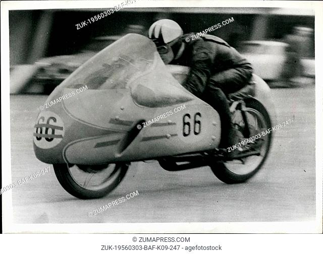 Mar. 03, 1956 - International Racing Motor Cyclists train for Shell Gold Trophy race: Many international racing motor-cyclist are training at Monza, Italy