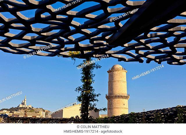 France, Bouches du Rhone, Marseille, Esplanade J4, Euromed, MuCEM or Museum of Civilization in Europe and the Mediterranean, Fort St Jean