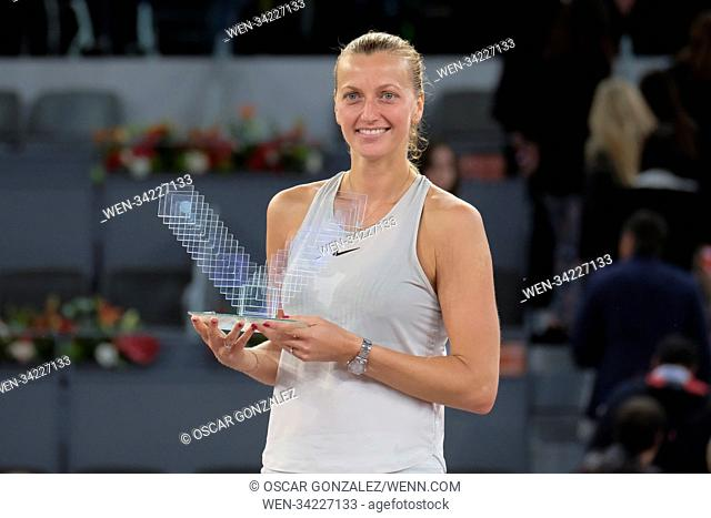 Petra Kvitova of the Czech Republic after her three-set victory against Kiki Bertens of the Netherlands in the womens final during day eight of the Mutua Madrid...