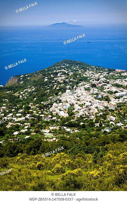 View from the top of Monte Solaro, Capri, with the Bay of Naples and Vesuvius behind, Italy