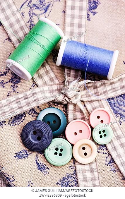 Cotton buttons and fabric