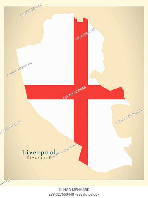 Modern City Map - Liverpool with coloured boroughs illustration