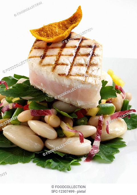 Swordfish and beans main meal