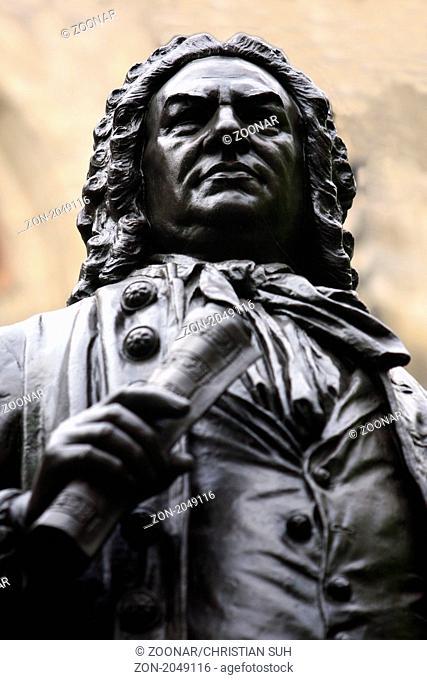 Johann-Sebastian-Bach-Denkmal an der Thomaskirche, Leipzig, Sachsen, Deutschland, Europa