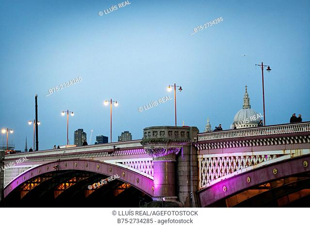 Blackfriars Bridge with St. Paul 's dome in background, London, England