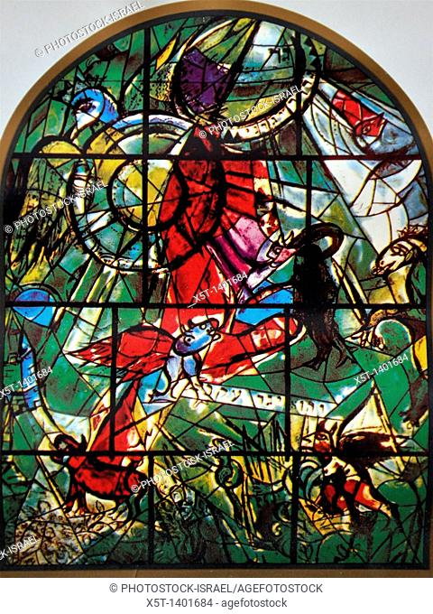 The Tribe of Gad  The Twelve Tribes of Israel depicted in stained glass By Marc Shagall 1887 - 1985  The Twelve Tribes are Reuben, Simeon, Levi, Judah, Issachar