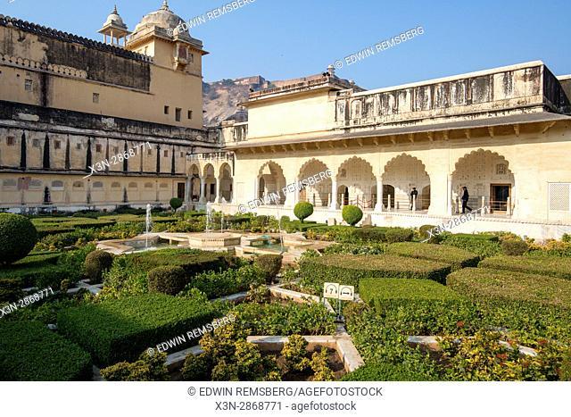 Jaipur, India; Amber Fort - Garden in courtyard