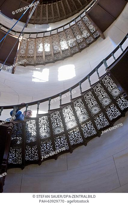 Civil engineer Rudolf Kaepplein inspects a step on the circular staircase in the tower of the Granitz Hunting Lodge near Binz, Germany, 23 November 2015