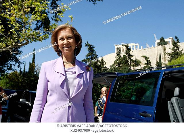 Athens Greece  Queen Sofia of Spain visits the New Acropolis museum