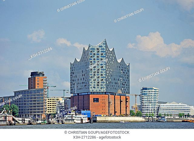 Elbphilharmonie, a concert hall built on top of an old warehouse building (by Swiss architecture firm Herzog & de Meuron), view from a ferry on Elbe river