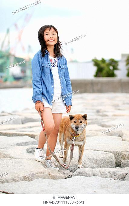 Girl and Shiba Inu