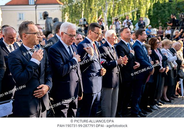 31 July 2019, Poland, Warschau: Heiko Maas (l-r, SPD), Foreign Minister, is taking part in the commemoration of the 75th anniversary of the Warsaw Uprising...