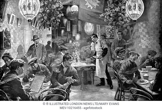 Scene from 1920 of a Chinese restaurant in London's Chinatown in Limehouse. The first Chinese to settle in Britain arrived in the late 18th century