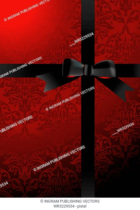 present background with black ribbon and wallpaper design