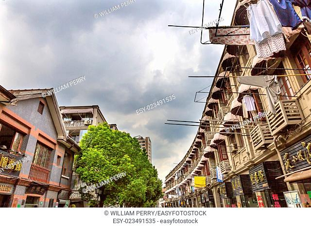 Old Duolon Cultural Road Hongkou District Shanghai China. Old Shanghai Houses and Street built during revolutionary time and home of several famous writers