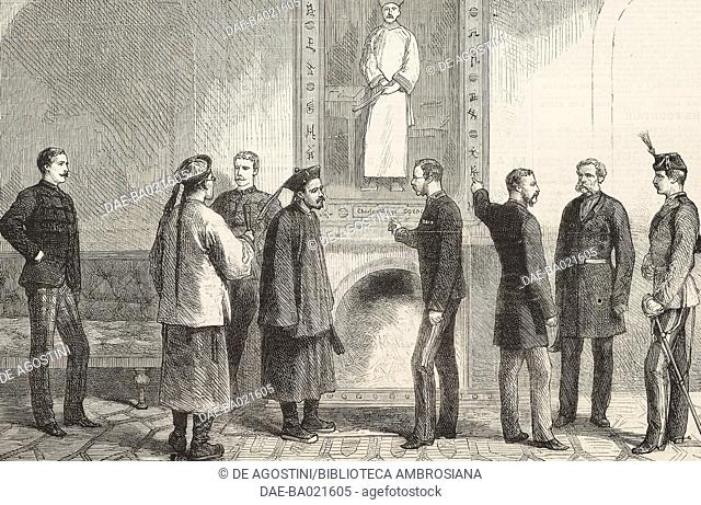 The Chinese ambassador inspecting the portrait of general Charles George Gordon, known as Chinese Gordon, Chatham, United Kingdom