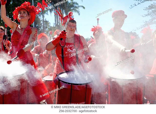 Northern Rivers drumming group, The Samba Blisstas perform at the opening of Alstonville Bypass