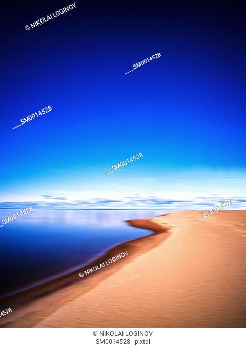 Vertical vivid morning on smooth mountain lake landscape abstraction