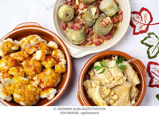 Food Tapas. Traditional gastronomic dishes of the Spanish gastronomy. Cauliflower with pimenton, artichokes with Iberian ham and mushrooms with garlic