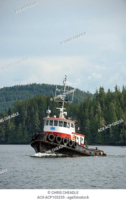 Tugboat in the Broughton Archipelago, off northern Vancouver Island, British Columbia, Canada