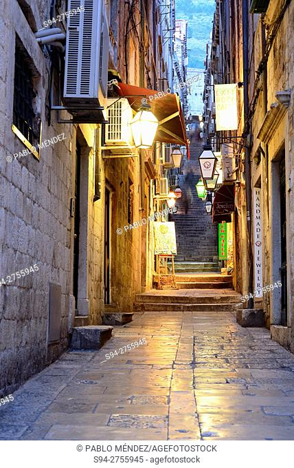 Alley in the historic centre of Dubrovnik, Croatia