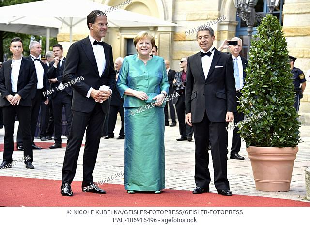 Mark Rutte, Angela Merkel and husband Joachim Sauer at the inauguration of the Richard Wagner Festival 2018 in the Bayreuth Festspielhaus