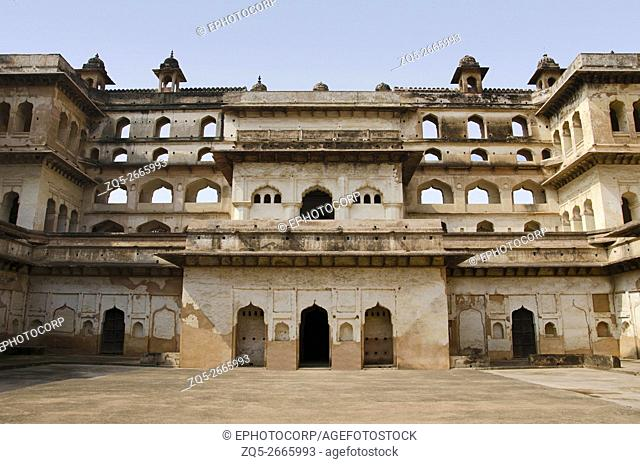 Partial interior view of Raj Mahal, Orchha Palace (Fort) Complex, where the kings and the queens resided till it was abandoned in 1783, Madhya Pradesh, India
