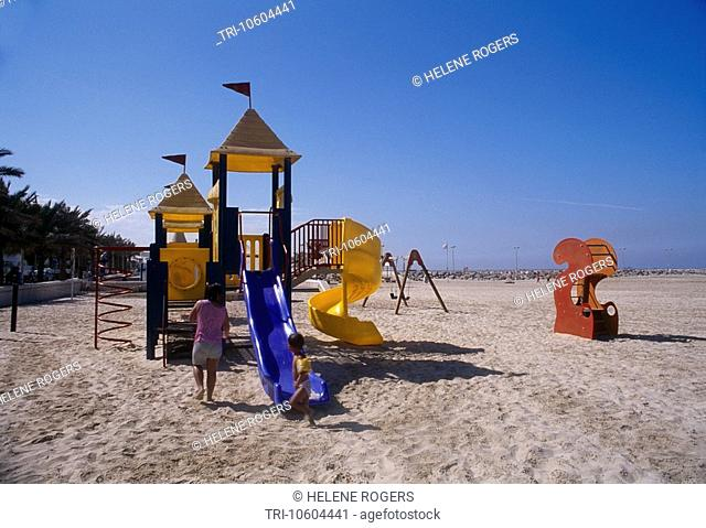 Dubai UAE Jumeira Beach Family At Playground