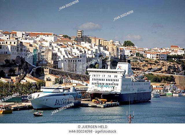 Spain Menorca Mahon Menorca Mahon Port Pier with Balearia Ferry to Barcelona