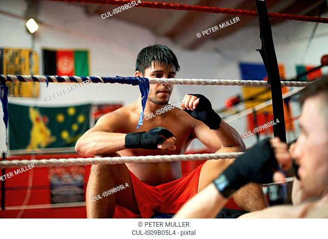 Boxer working out with sparring partner