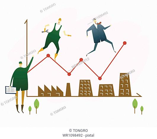 illustration of men running on graphs