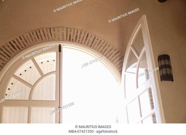 Morocco, Taroudant, Domain Villa Talaa Resort, indoors, detail, open window