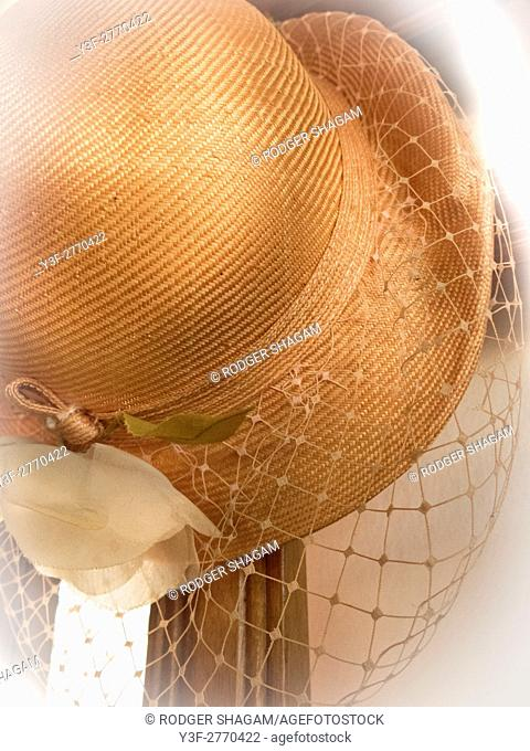 Old, pre-war (1940's) lady's hat with face-net. Cape Town, South Africa, South Africa