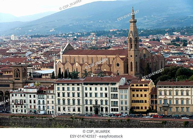 Florence - basilica of Santa Croce. View from the Michelangelo's Piazza