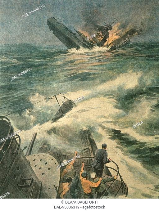 History, 20th century, World War II - Maryland class American battleship is sunk by Italian submarine Barbarigo in the Atlantic Ocean, May 31, 1942