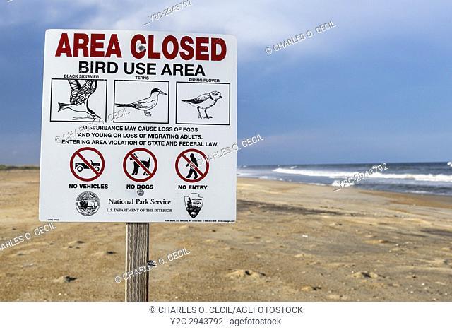 Avon, Outer Banks, North Carolina, USA. Bird Sanctuary Sign, Cape Hatteras National Seashore