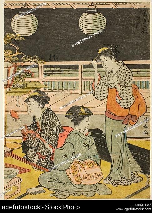 "The Seventh Month (Shichigatsu), from the series """"Twelve Months in the South (Minami juni ko)"""" - c. 1783/84 - Torii Kiyonaga Japanese"