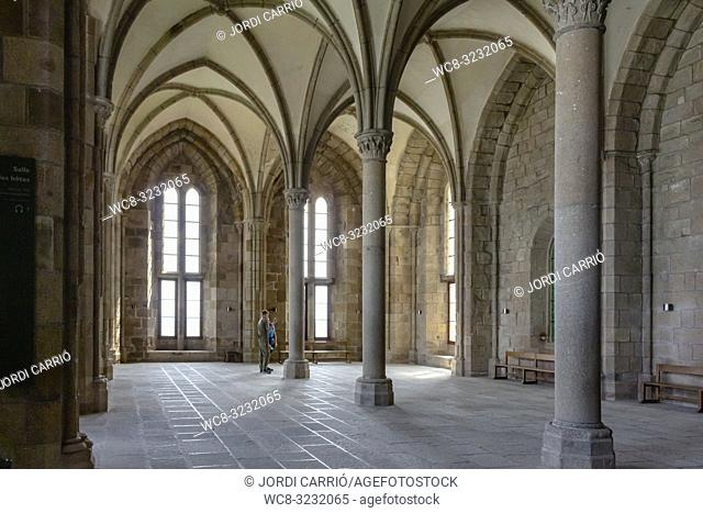 LE MONT SAINT-MICHEL, NORMANDY, FRANCE: View of the room of the guests of the Abbey